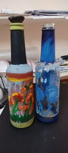 Bottle art first work - Disguise frame