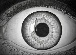 Realistic scared eye