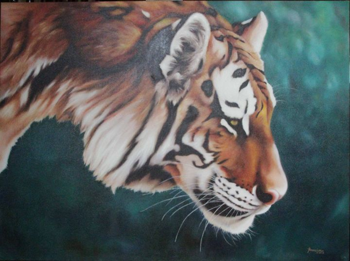 Crouching Tiger 36x48 inches, oil - Ronnie Loves To Paint Gallery