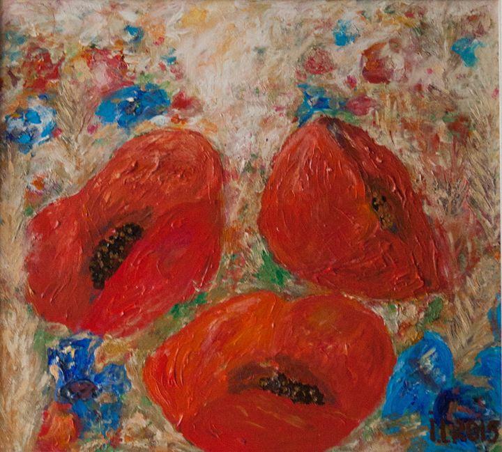 Poppies. Not evening yet. - ArtBonBon Inga Leitasa