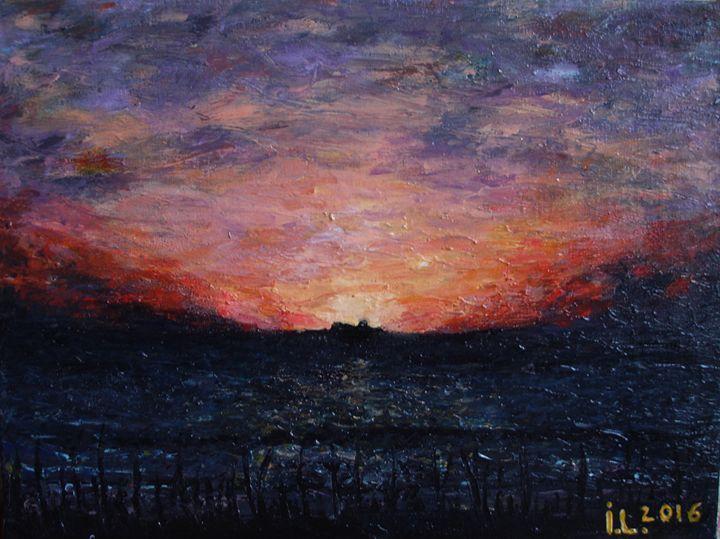 The ship meets the sunset - ArtBonBon Inga Leitasa