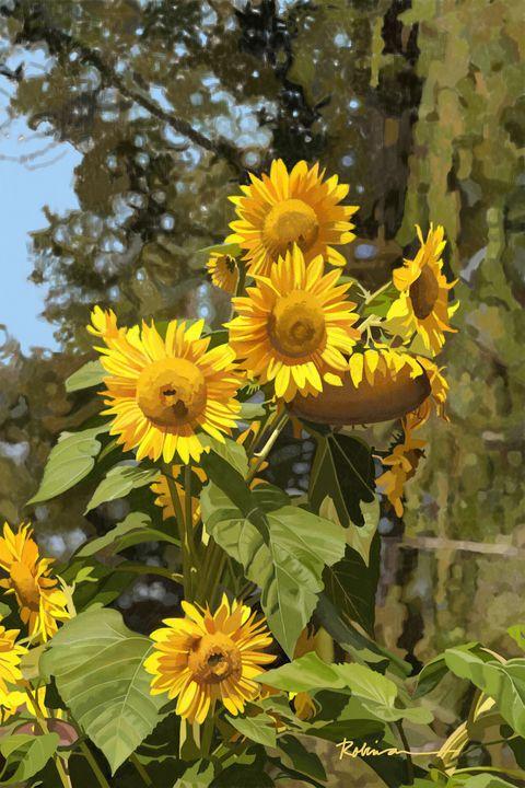 Sunflowers Portrait - Dave Robinson's Art Gallery