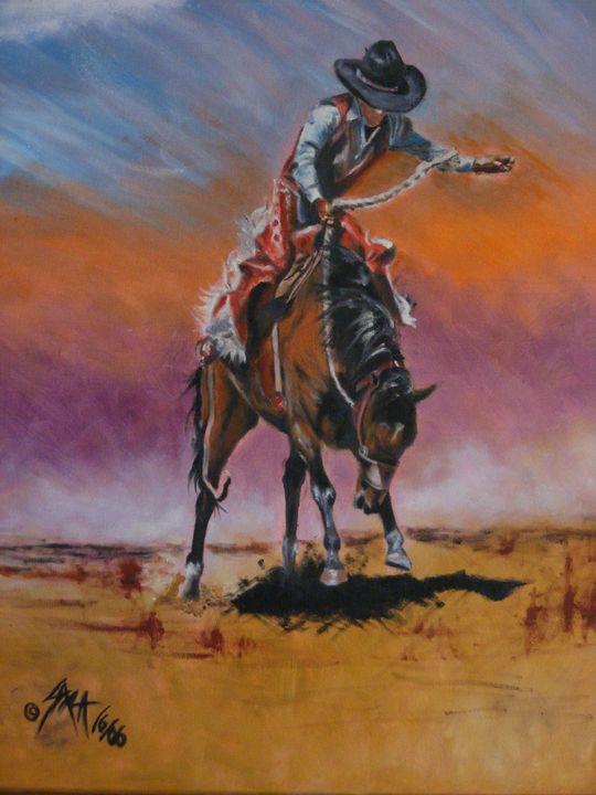 Bronc Riding - Paintings by Sara