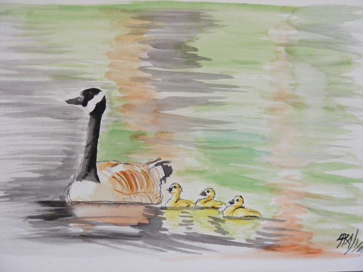 Duck with ducklings - Paintings by Sara