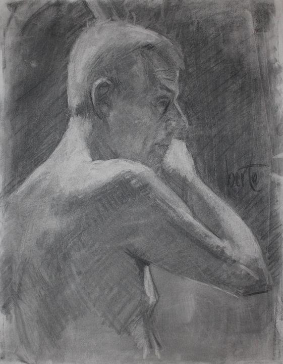 Male charcoal illustration - Berto Ortega