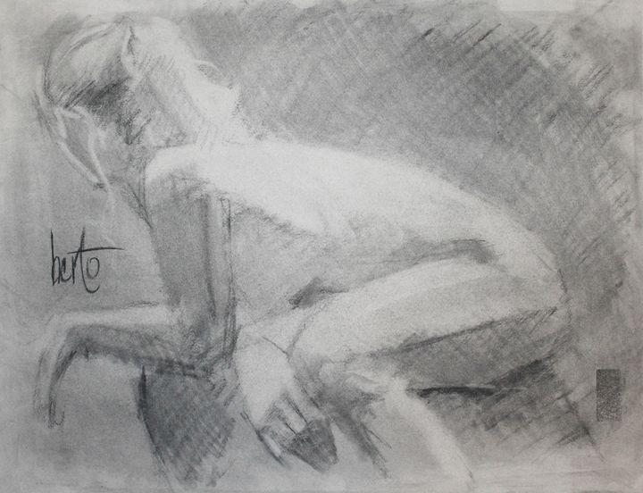 Curious glance charcoal - Berto Ortega