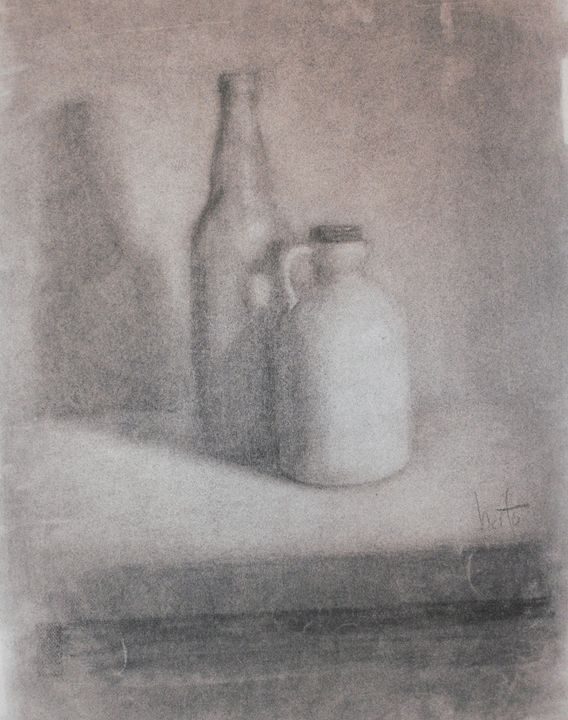 Charcoal bottle and jug - Berto Ortega