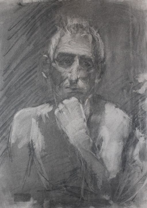 Charcoal male portrait - Berto Ortega