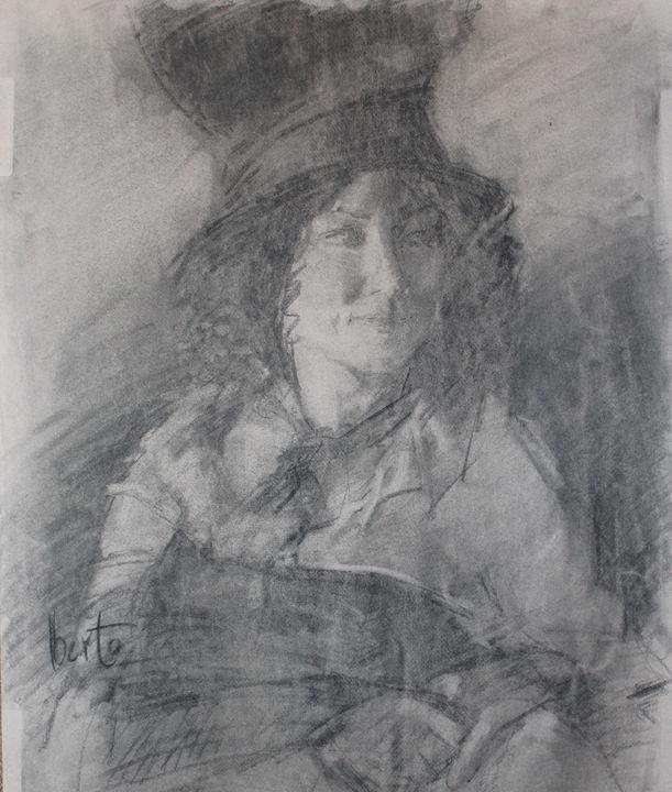 Charcoal female portrait - Berto Ortega