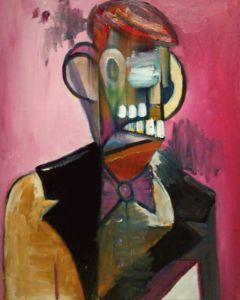 Cubist portrait with pink