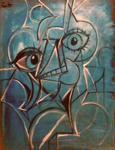 30x40 cubist portrait in blue