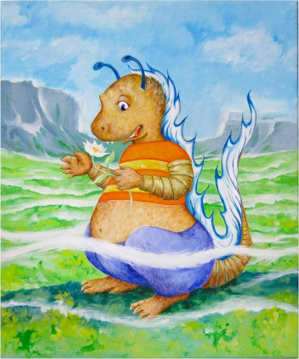 The curious little dragon - Paintings by Linda Knotter