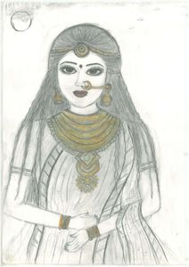 sketching of rajsthani bridal