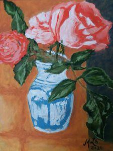 Blue Vase Roses