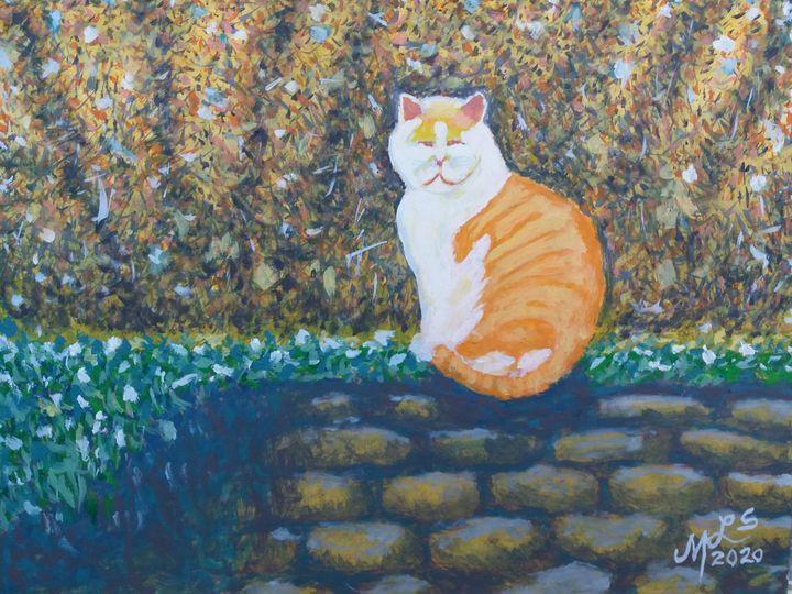 Tangerine White Cat - Mo Leyva's Art