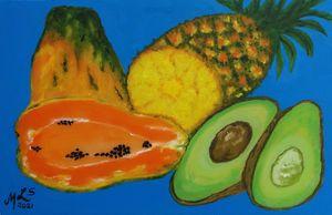 Blue BG Fruit Trio - Mo Leyva's Art