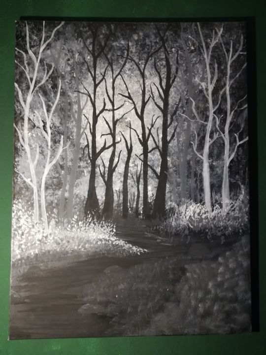 Moonlit forest (glow in the dark) - Art by Cait