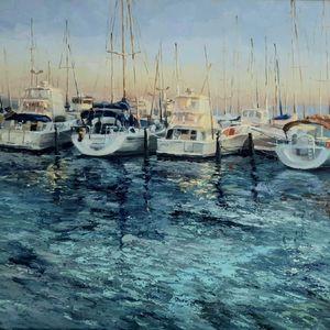 Boats at dusk in Fremantle