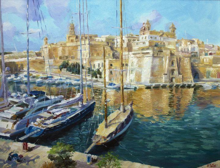 """ Seaport in Malta"" - Tatsi Fine Art"