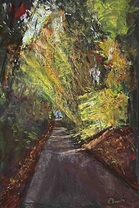 Tunneling through Fall - Elaine Benevides Pastel Artist