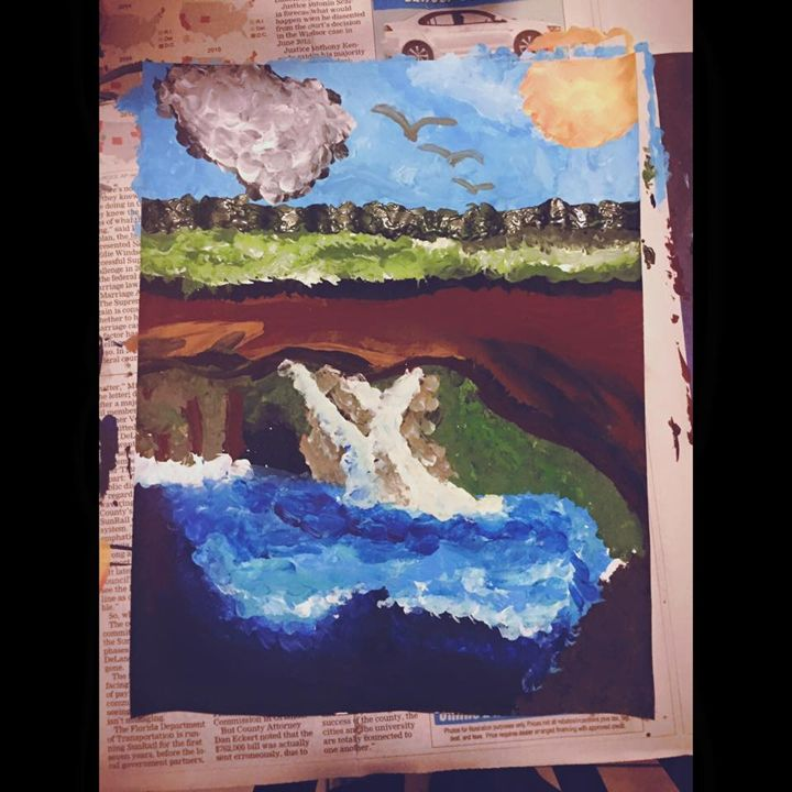 Waterfall - Paintings by crystalelaineart