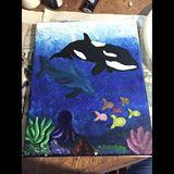 Original painting of aquatic life.