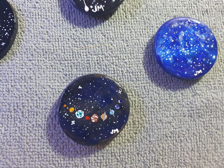 Hand painted solar system magnet or - Jessica