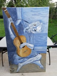 Reverse picasso guitarist oil canvas