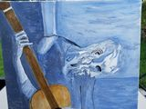 Picasso guitarist Oil on canvas