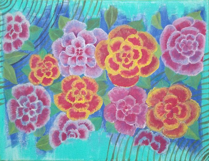Colorful Flowers - laurenadilayart