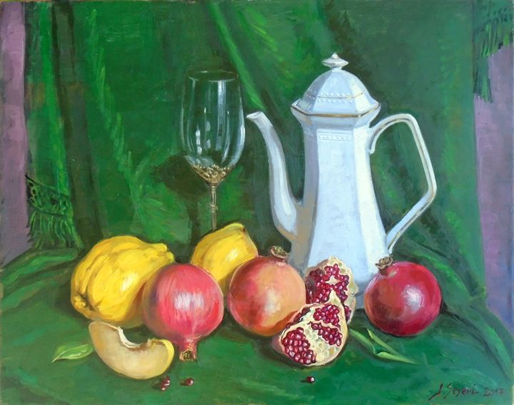 Pomegranates & quinces in green - Paintings by Lorenc Seseri