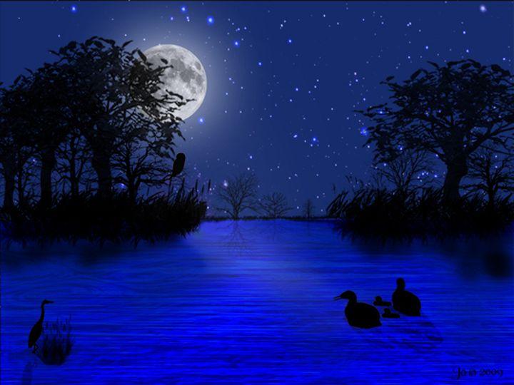 Loon Family on a lake - Digital Artwork Jo peterson