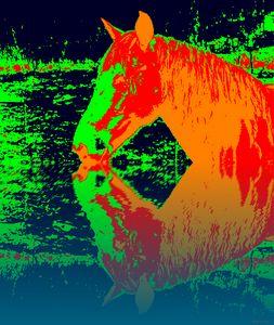 trinkendes Pferd Popart