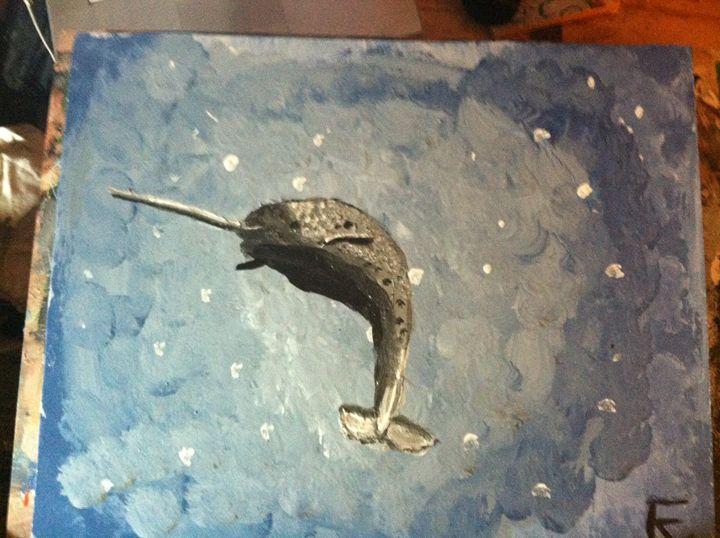 18x24 acrylic narwhal - FK Art