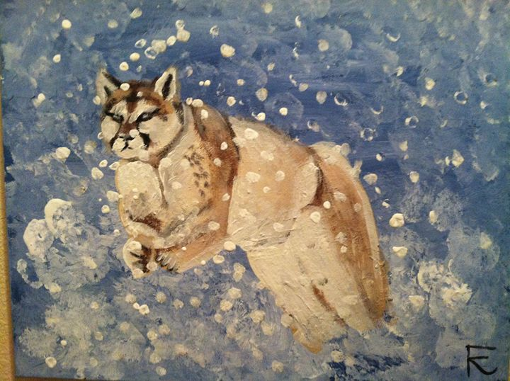 18x24 Mountain lion in snow - FK Art