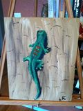 12x18 acrylic lizard on tempered boa