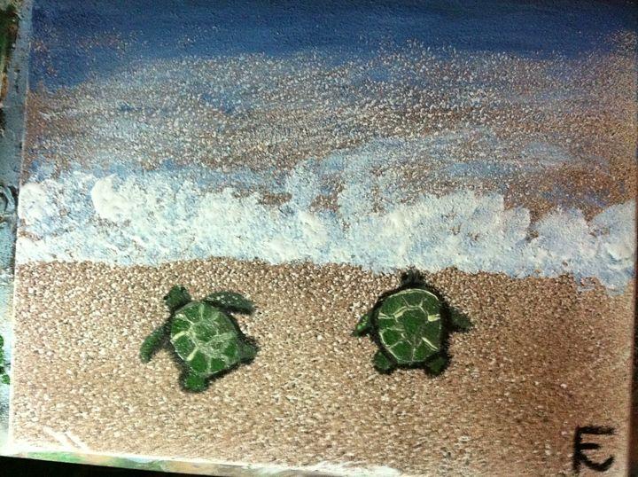 18x24 turtle babies return to sea - FK Art