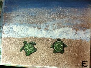18x24 turtle babies return to sea