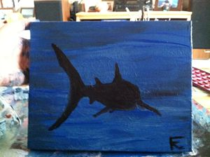 12x18 acrylic shark in the dark
