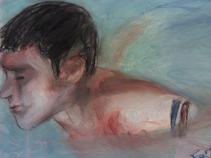 swimmer in pastel - FK Art
