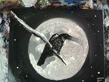 12x18 acrylic black bird in moonligh
