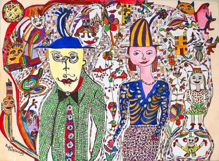 Picasso and his Wife - Anna Papadakos Art