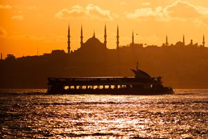 Scenic view of Istanbul at sunset