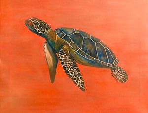 Sea turtle in peach
