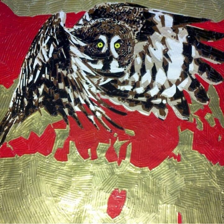 Owl In Flight - Ductover - Duct Tape Art