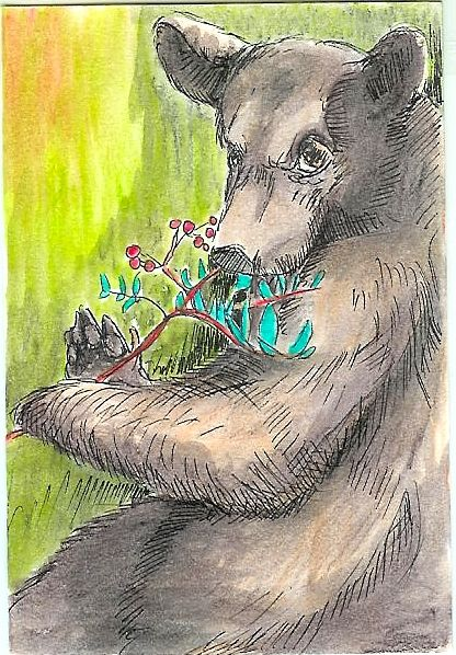 #4 Black Bear Greeting Card - Ryan Brock Campbell