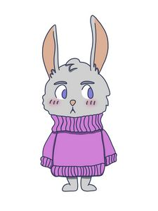 rabbit in purple pullover