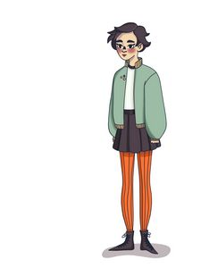 girl in a skirt and jacket