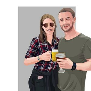 Couple Digital Illustration Portrait - 4nart
