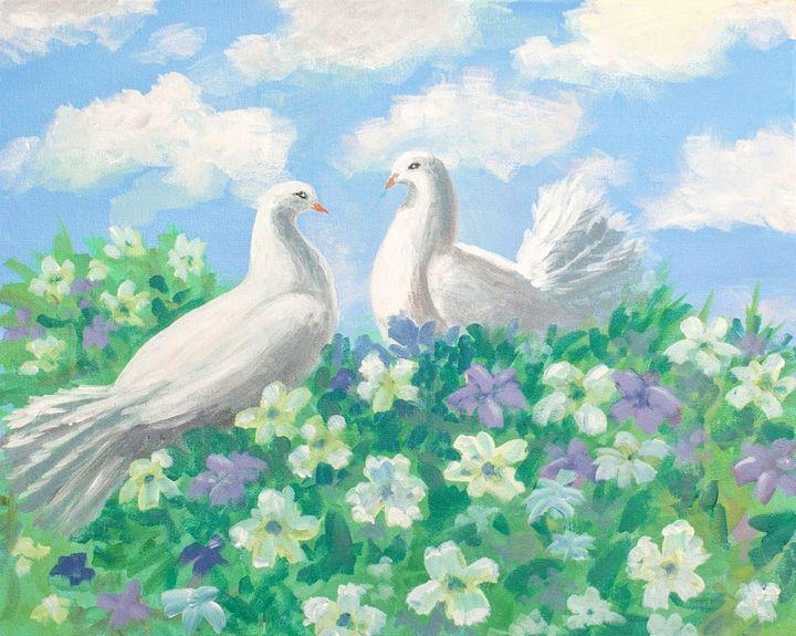 Doves in Love - A Splash of Color